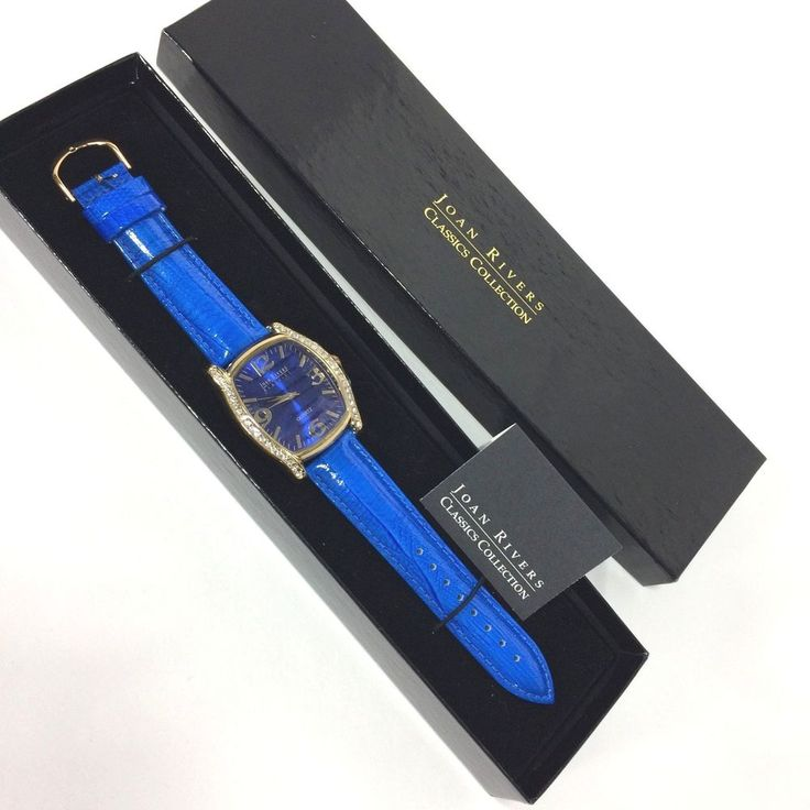 Joan Rivers Classics Collection Watch Blue Reptile Embossed Rhinestones Bold NEW #JoanRivers