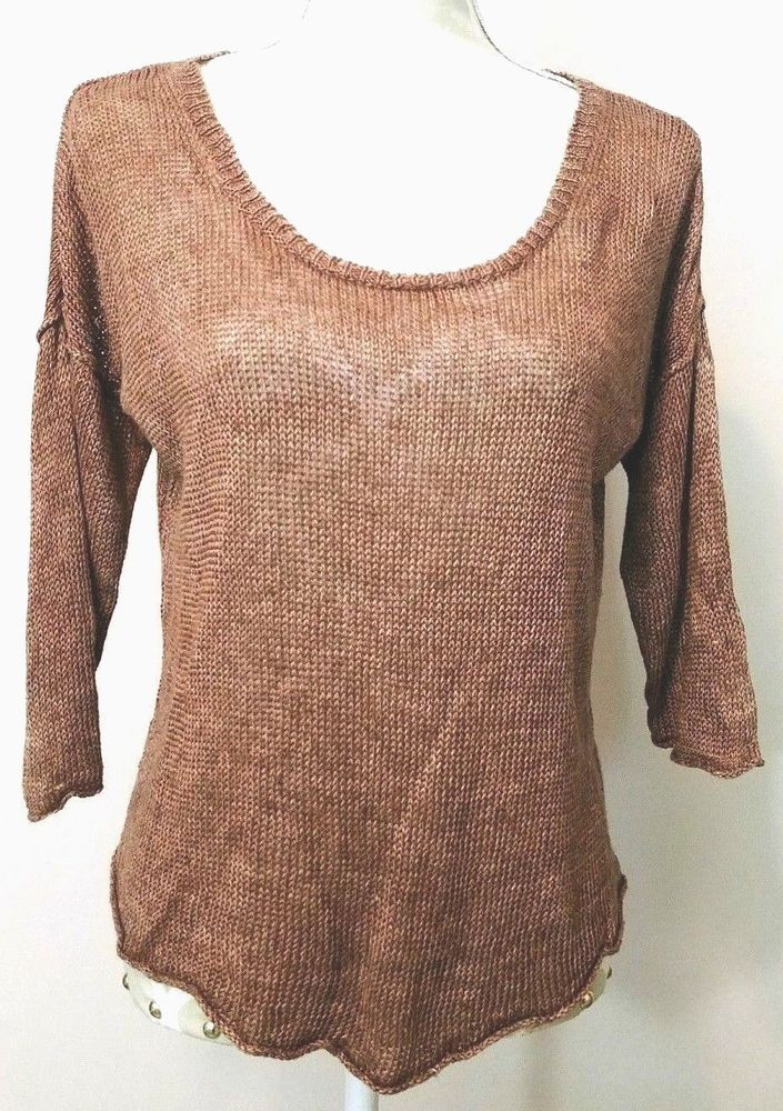 3f886283a0d200 Wilfred Aritzia 100% Linen Sweater Womens Size M Brown  Wilfred  ScoopNeck