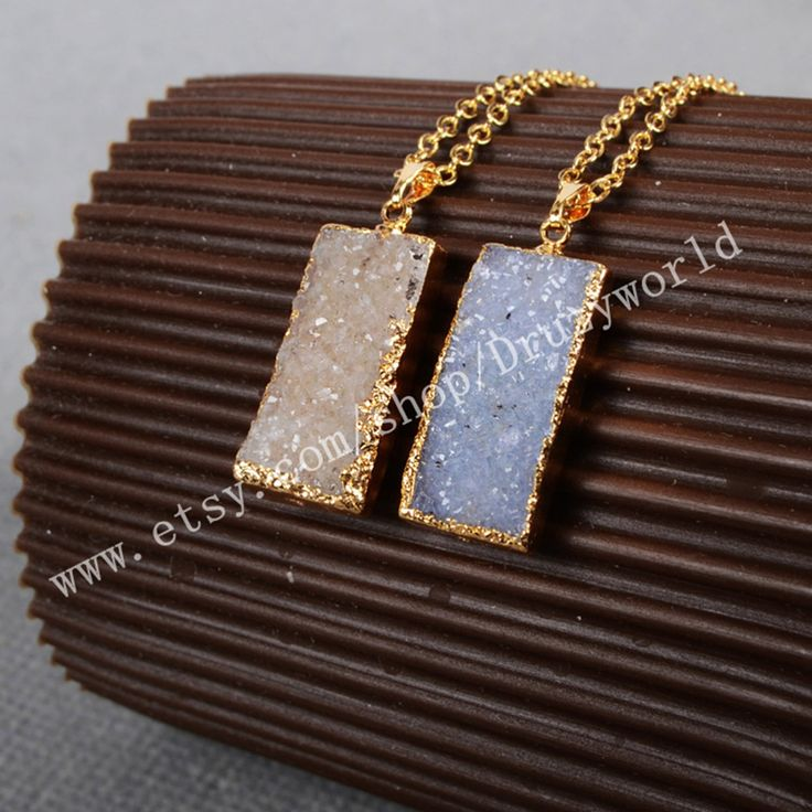 Wholesale Rectangle Druzy Necklace Gold Plated Druzy Geode Necklace Golden Electroformed Gemstone Geode Jewelry Natural Druzy Agate G0114 by Druzyworld on Etsy