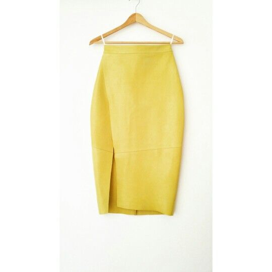 Andra Andreescu Yellow leather pencil skirt