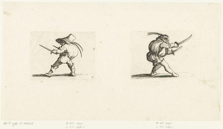 Jacques Callot   Dwerg met twee dolken; Groteske figuur met twee zwaarden, Jacques Callot, Abraham Bosse, 1621 - 1676   Links: dwerg, min of meer op de linkerzijde gezien, met een gebochelde rug, een hoed met twee veren op het hoofd, in de rechterhand en in de linkerhand een dolk. Rechts: groteske figuur, op de rechterzijde gezien, met een gebochelde rug, een muts met twee veren op het hoofd, in de rechterhand en in de linkerhand een zwaard. Deze beide prenten, naast elkaar op 1 blad…