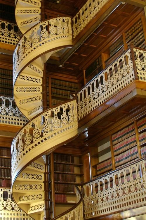 Spiral staircase in the Iowa state capital library