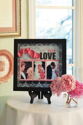 A scrapbook page is a great way to display your love story on entry tables, at the reception, or by the guestbook. This simple project looks professional and is sure to impress your guests.