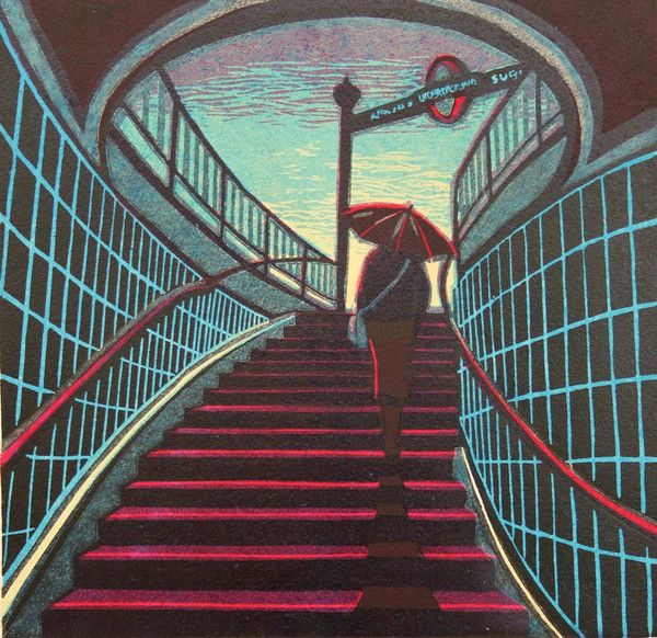 Up With The Larks - a linocut print by Gail Brodholt