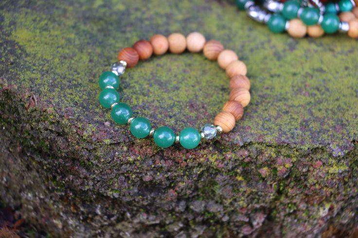 Green Adventurine & Crystal Diffuser Bracelet