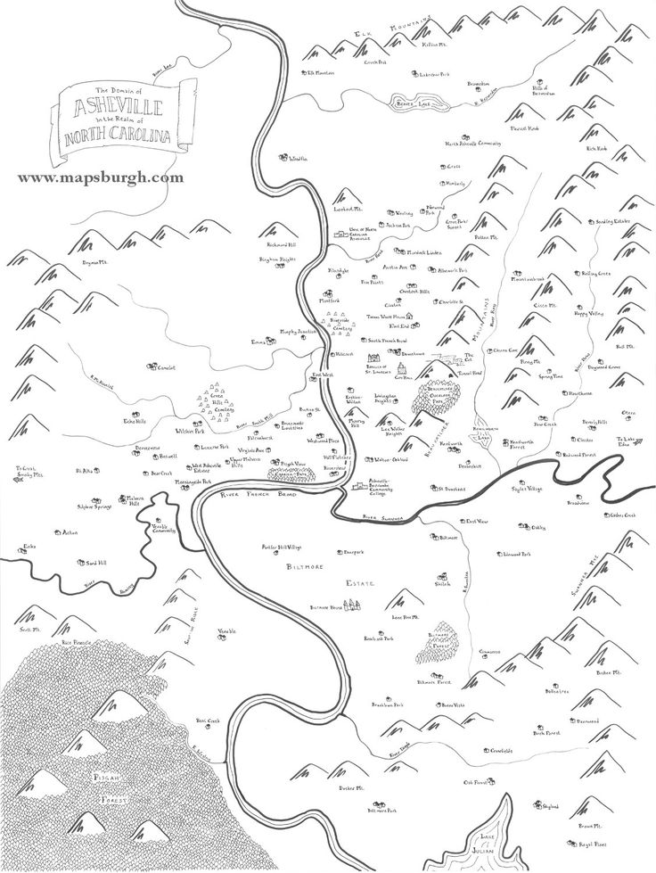 Inspired by the maps in fantasy novels like J.R.R. Tolkiens The Lord of the Rings, this map shows Asheville, NC as a fantasy land of castles and dragons.  This map is available as either an 8.5x11 print on heavy paper, or a poster-sized (18 x 24 inches) print on heavy paper with a glossy finish. Its great for framing or just hanging on your wall. Show everyone how much you love your city, and inspire them to look at it in a new way!  You can also get maps of other Appalachian cities here…