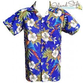 Royal Blue Magnum Hawaiian Shirt Plus Size Tropical Aloha Party costume