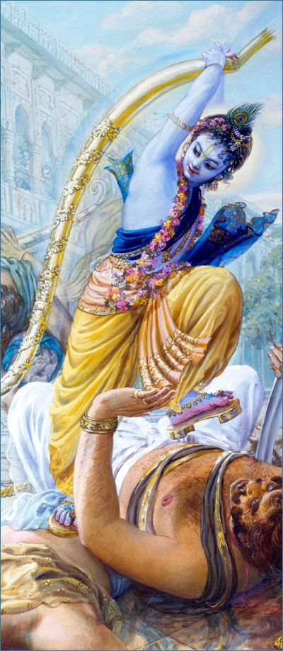 Krishna Breaking Bow-http://www.krishnalilas.com/41-the-breaking-of-the-bow.htm