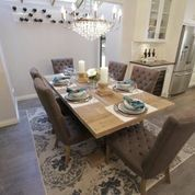 DINNING ROOM Love These Chairs And The Rug Theyd Match My Dining Room Curtains But Id Like A Darker Table