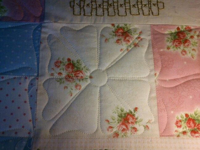 Custum quilting a Red Brolly Quilt. Gingham girls.