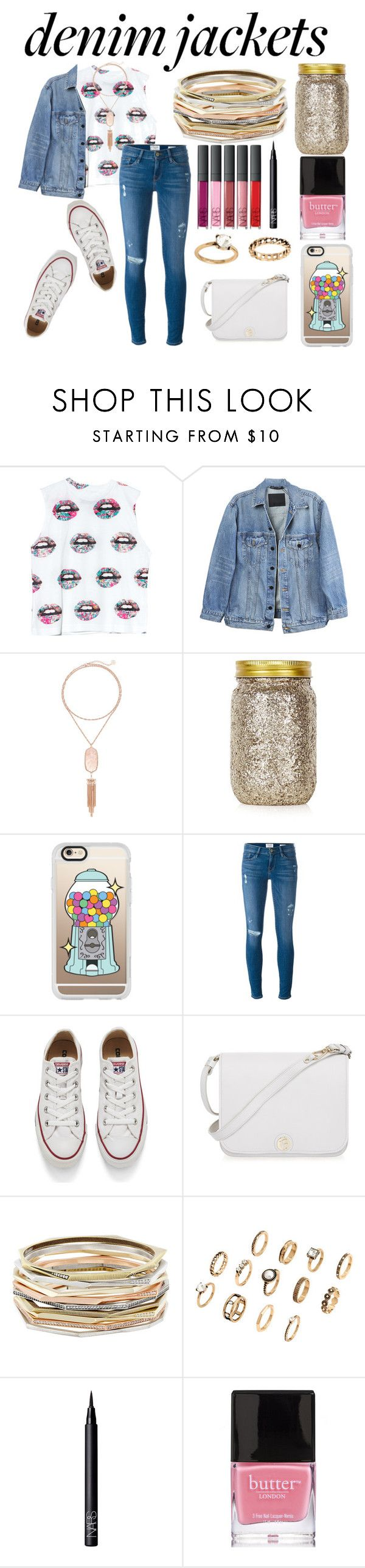 """""""Denim Jacket"""" by artwonders97 ❤ liked on Polyvore featuring Civil, Y/Project, Kendra Scott, Topshop, Casetify, Frame Denim, Converse, Furla, NARS Cosmetics and Butter London"""