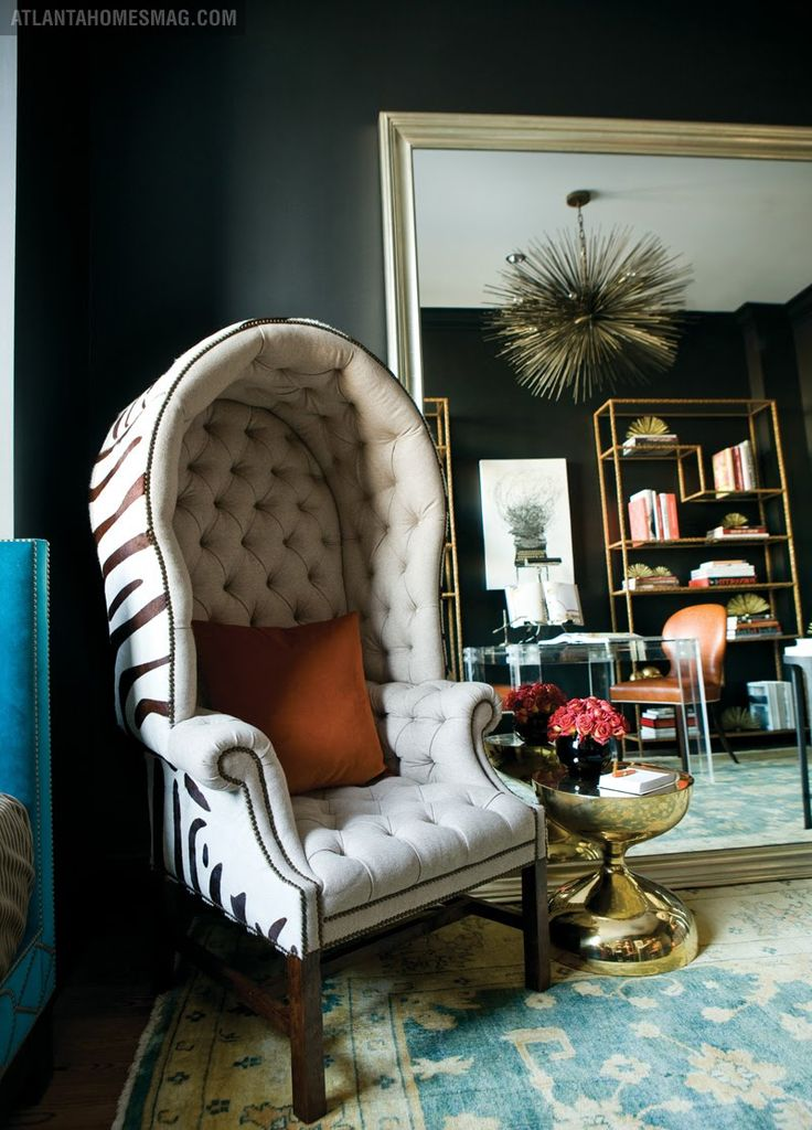Capitonné Porteru0027s Chair With Zebra Fabric.Historically This Kind Of Canopy  Chair Was Used By