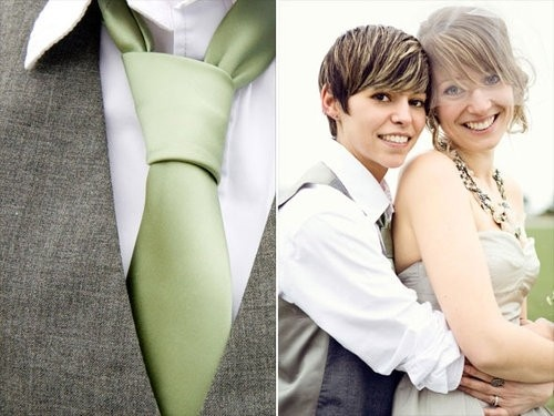 Lesbian wedding attire: Lesbian Love, Green And Gray, Eye Makeup, Lesbian Wedding, White Shirts, Neon Green, Cutest Couple, Wedding Couple, Love Pics