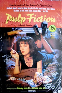 PULP FICTION (1994) original 27x40 movie poster cast signed by John Travolta (Vincent Vega), Samuel L. Jackson (Jules Winnfield), Harvey Keitel (Winston 'The Wolf' Wolfe), Bruce Willis (Butch Coolidge), Maria de Medeiros (Fabienne), Christopher Walken (Captain Koons), Eric Stoltz, Uma Thurman, Steve Buscemi, Tim Roth, Ving Rhames, Rosanna Arquette, Amanda Plummer, Peter Greene, Duane Whitaker, Frank Whaley, executive producer Danny Devito, producer Lawrence Bender & director Quentin…