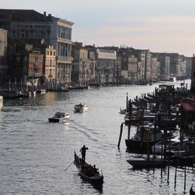 Venice's grand canal. From the Rialto Bridge.
