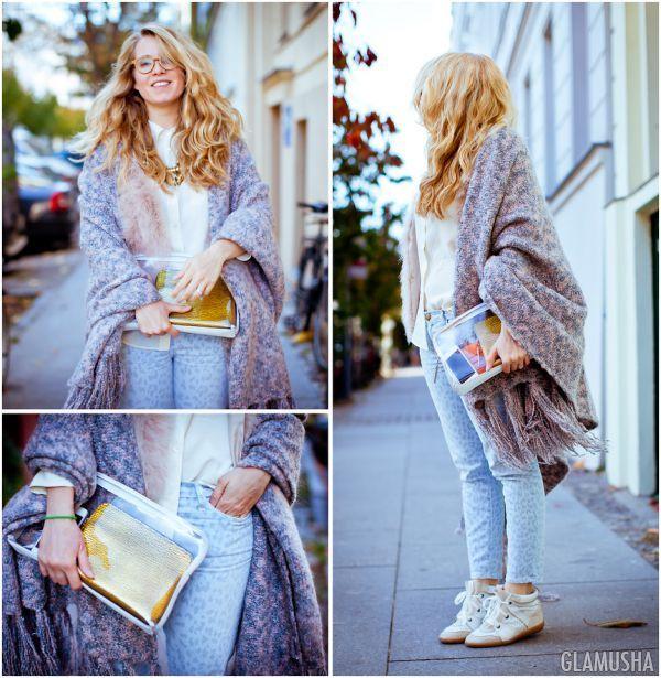 5 простых способов носить шарф-плед | GLAMUSHA.ru
