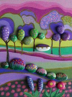 Paesaggio Naif-painted stones di Rosaria Gagliardi