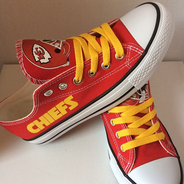 Kansas City Chiefs Converse Style Sneakers - http://cutesportsfan.com/kansas-city-chiefs-designed-sneakers/