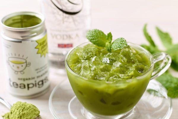 Mint matcha vodka cooler