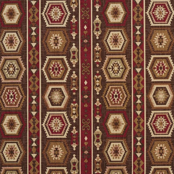 e715 dark brown dark red and beige woven geometric stripe upholstery fabric