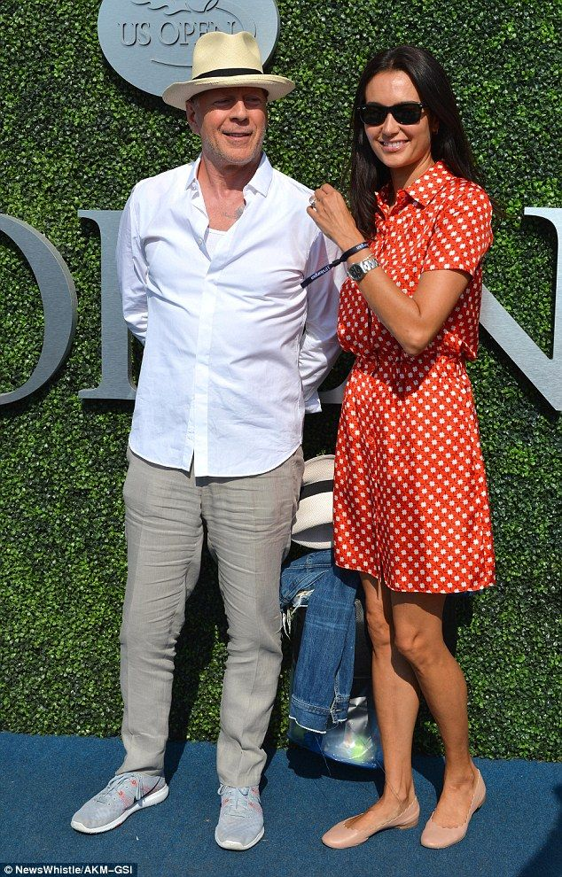 Ready to cheer: On Friday Bruce Willis demonstrated a wide range of emotions as he and his wife Emma Heming watched action unfold at the US Open