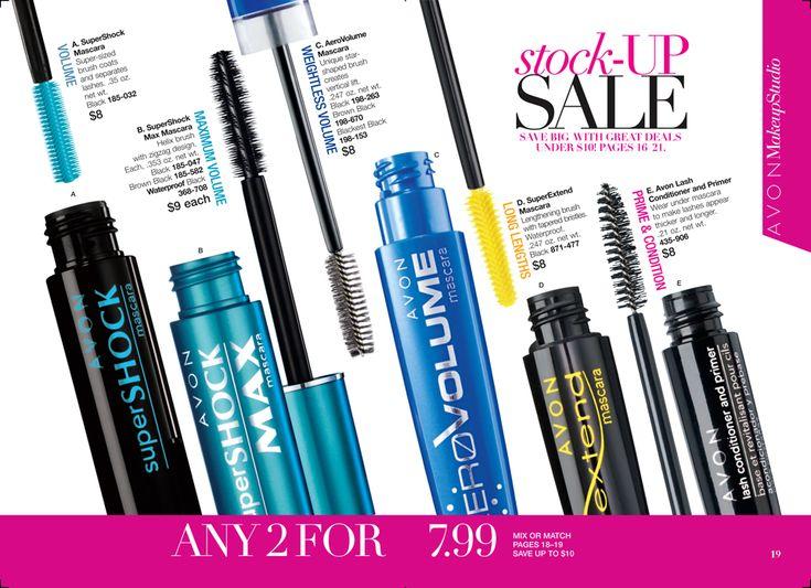 Avon Book 17 Stock up sale- Any 2 Masacra for $7.99 http://www.avon.com/brochure?code=FS30REP&s=ShopBroch&c=repPWP&otc=&dept=catalog&setlang=1&repid=16317031&tntexp=pwp-b&utm_content=buffer0e219&utm_medium=social&utm_source=pinterest.com&utm_campaign=buffer #mascara #eyemakeup #avon