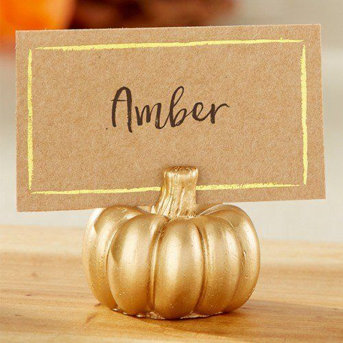 Create A Glittering Halloween Dinner With Gold Pumpkin Place Card Holders