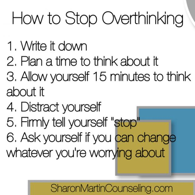 How to Stop Overthinking by Sharon Martin, LCSW #anxiety #overthinking