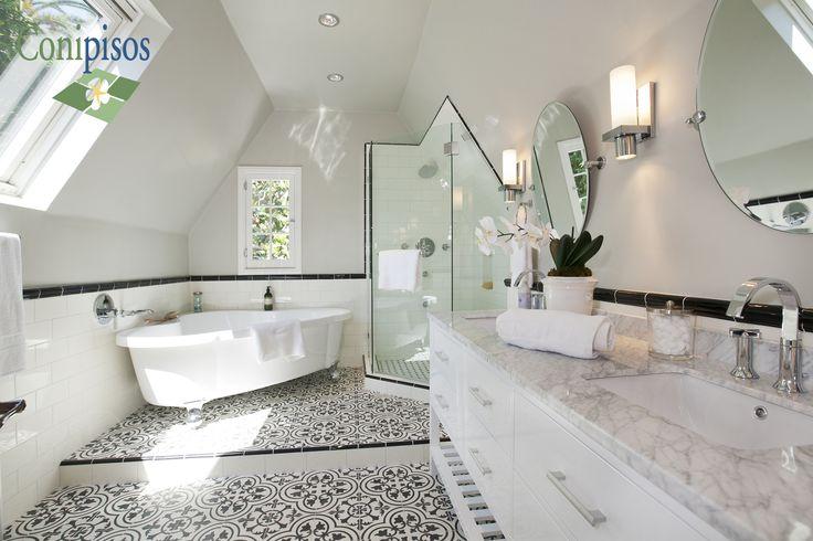 Decoracion de interiores con pisos y mosaicos de cemento, creando un ambiente chic, elegante y muy luminoso con nuestros diseños de pisos #Cluny en blanco y negro.