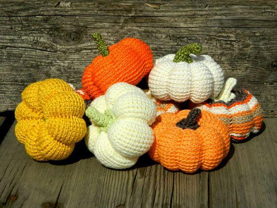 Crochet pumpkins--Set of 8-Halloween decorations-Crochet vegetables-Handmade toy-Pumpkin decor-Helloween decor