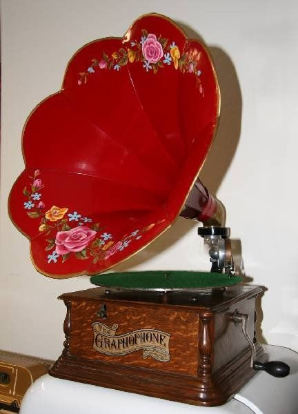 Antique Oak Phonograph w/Vivid Red Morning Glory Horn (also have 6 heavy records amd a round needle container)
