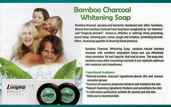 Longrich Bamboo Charcoal soap. It is made from natural deep cleansing ingredients of bamboo tree & activated charcoal. It gives deep cleansing to the skin; it restores badly damaged skin. clears pimples, spots, heat rashes, cream burn & sun burn and returns skin back to its original state. It does not bleach or darkens the complexion but maintain its original color. It comes in a pack of three.  https://www.joyorich.com