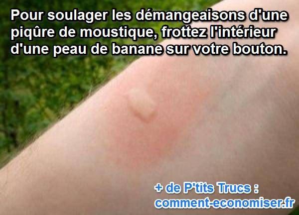 Un remède de grand-mère va calmer vos piqûres de moustiques qui grattent. Une simple peau de banane va apaiser vos démangeaisons et vous soulager rapidement.   Découvrez l'astuce ici : http://www.comment-economiser.fr/calmer-rapidement-piqure-moustique..html