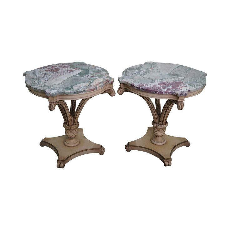 Grosfeld House Painted Wood Marble Top Side Tables - Image 1 of 10