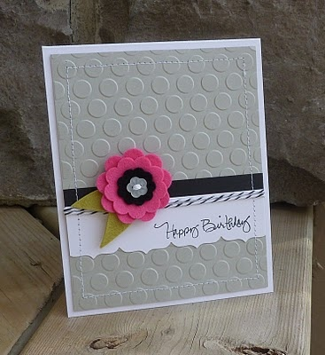 ***Pink Flower, Colors Combos, Cute Cards, Cards Ideas, Embossing Folder, Happy Birthday, Birthday Cards, Felt Flower, Flower Cards