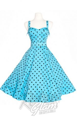 Retro Glam - Deadly Dames Downtown Dames Swing Dress in Baby Blue with Black Polka Dots #rowenaedmonton #retroglam #pinupstyle #retrostyle #pinupgirl #modernpinup #rockabilly #pinupgirlclothing
