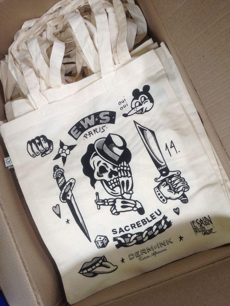 zeefdruk  - zwart - textiel - tasjes - tote bags - waterbasis - tattoo - eco friendly - www.dekijm.nl