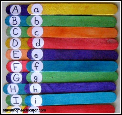 A simply DIY game, able to be differentiated- can identify letter to keep stick, can identify sound to keep stick, or can find upper-lower case matches to keep. Object: end up with the most sticks.   :)