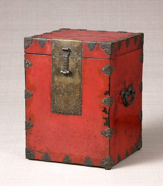Red Wooden Lacquer Box with brass petal supports, Joseon Dynasty, Korea