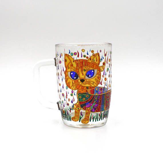 Funny Crazy Rainbow Cat Mug Hand Painted Gift Coffee Tea