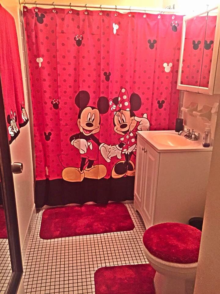 Disney Discovery Mickey And Minnie In Love Shower Curtain