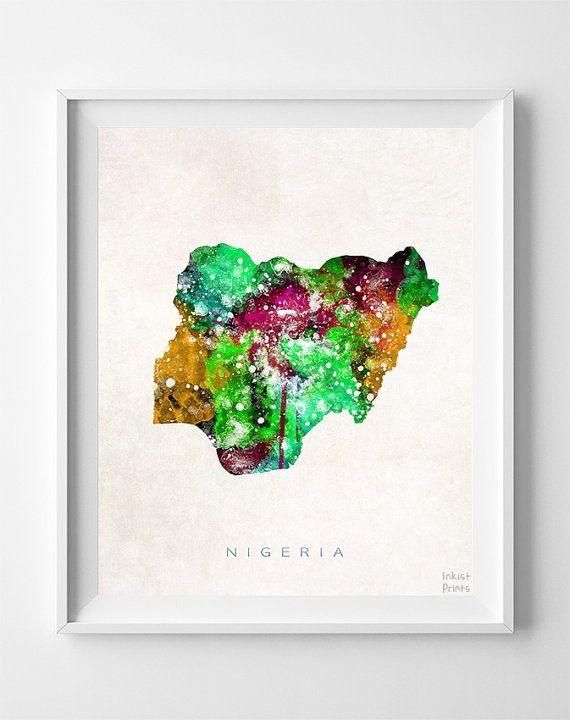 Nigeria Map Print Abuja Print Nigeria Poster Map by InkistPrints