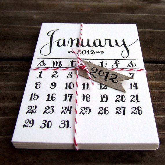 PREORDER 2013 Letterpress Calendar Mini by KisforCalligraphy, $18.00