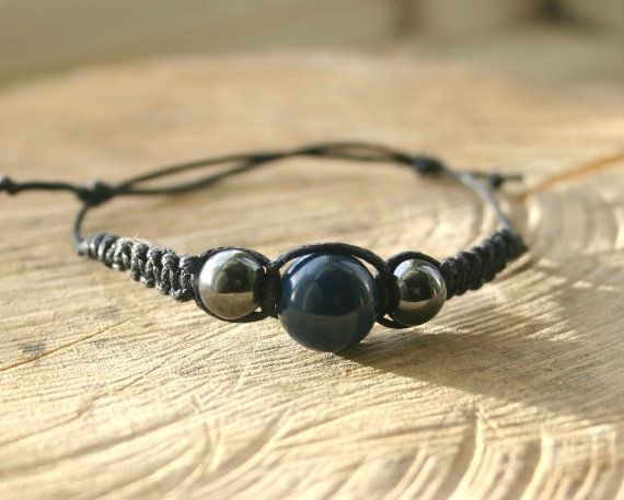 Bracelet Dyed Blue Agate and Hematite Handmade  by TriouZ on Etsy, £6.15
