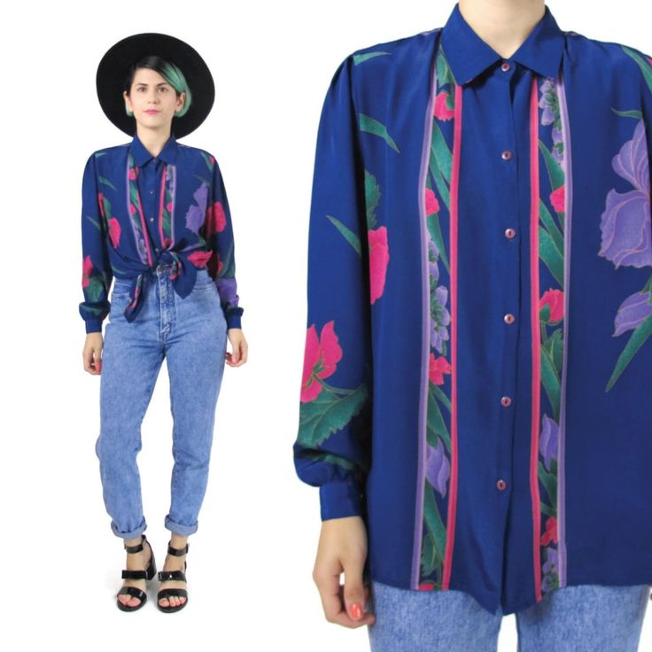 New to honeymoonmuse on Etsy: 80s Floral Print Blouse Navy Blue Long Sleeve Blouse Womens Dress Shirt Button Up Shirt Collared Colorful Purple Pink Floral Shirt (M) (38.00 CAD)