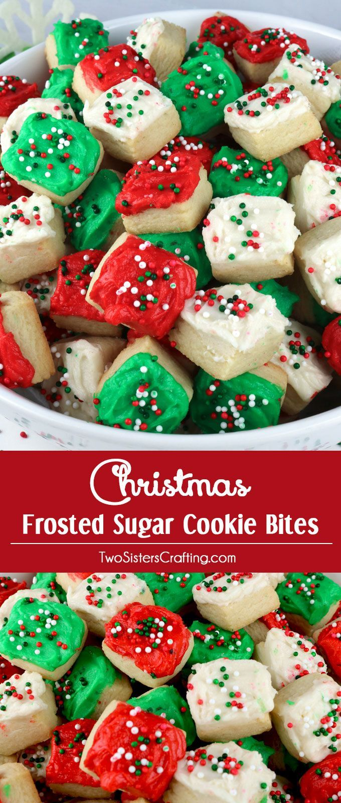 Christmas Sugar Cookie Bites - these yummy Christmas Treats are so easy to decorate that even the youngest family member can join in on the fun. They are a super delicious bite-sized taste of sugar cookie and creamy buttercream frosting. You'll definitely want to add these Christmas Cookies to your Christmas Baking List this year!