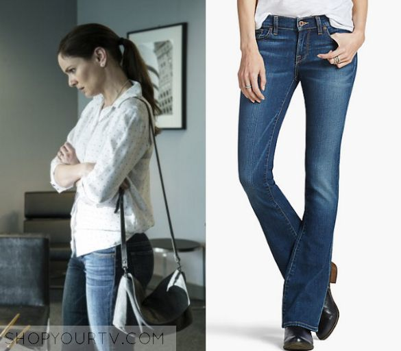 """Prison Break: Season 5 Episode 2 Sara's Bootleg Jeans   Shop Your TV Sara Tancredi (Sarah Wayne Callies) wears these dark blue bootleg denim jeans in this episode of Prison Break, """"Kaniel Outis"""".  They are the Lucky Brand Lucky Charlie Baby Boot."""