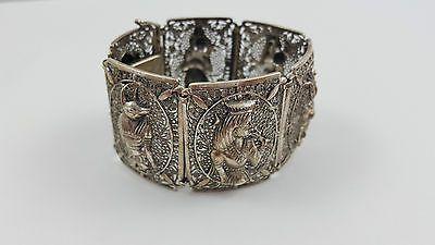 Vintage Armband 835 Silber Ägypten Skarabäus Echtsilber massiv 20 cm #S541