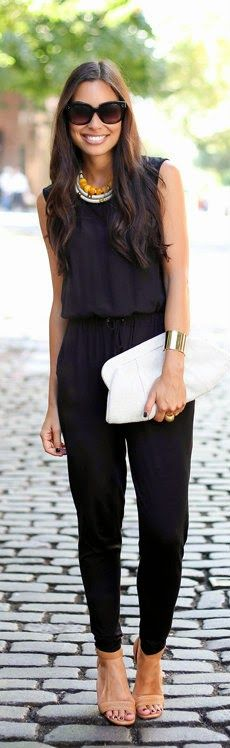 Easy Black Jumpsuit | Repinned by http://thecaffeinateddaytripper.com:
