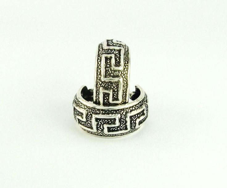 versace Hoop Earrings Stylish Greek Design 925 Sterling Silver Oxidize  #Fashion #Hoop